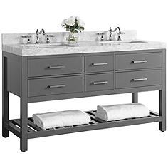 "Elizabeth Sapphire Gray 60"" Marble-Top Double Sink Vanity"