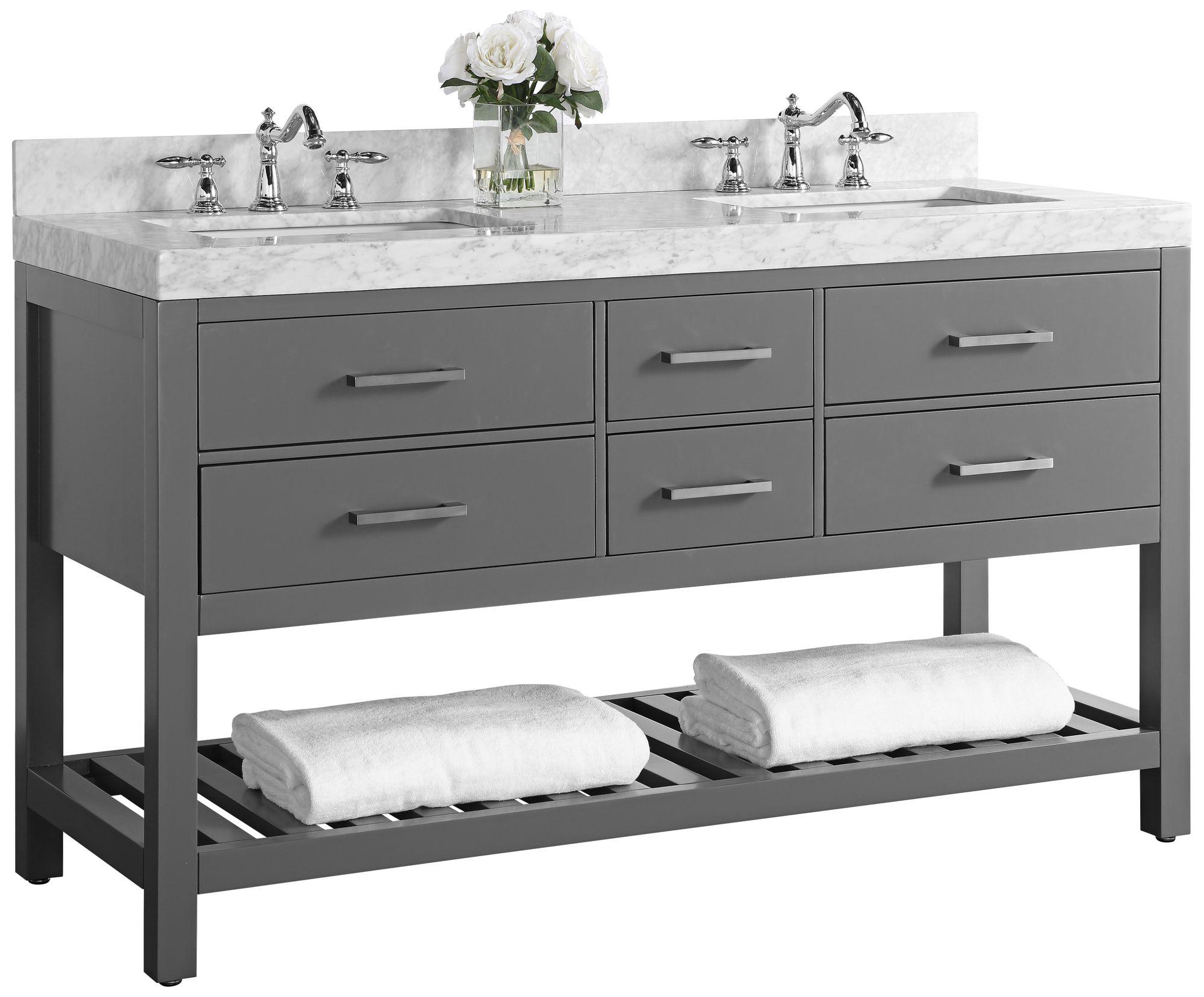 Elizabeth Sapphire Gray 60u0026quot; Marble Top Double Sink Vanity