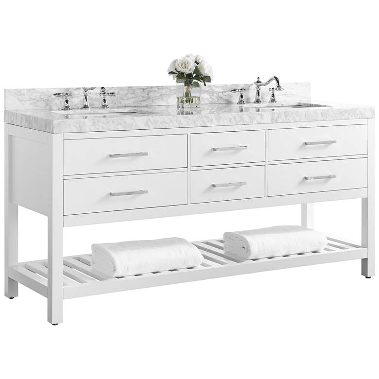 Elizabeth White 72 Wide Italian Marble Double Sink Vanity
