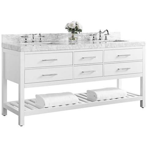 "Elizabeth White 72"" Wide Italian Marble Double Sink Vanity"