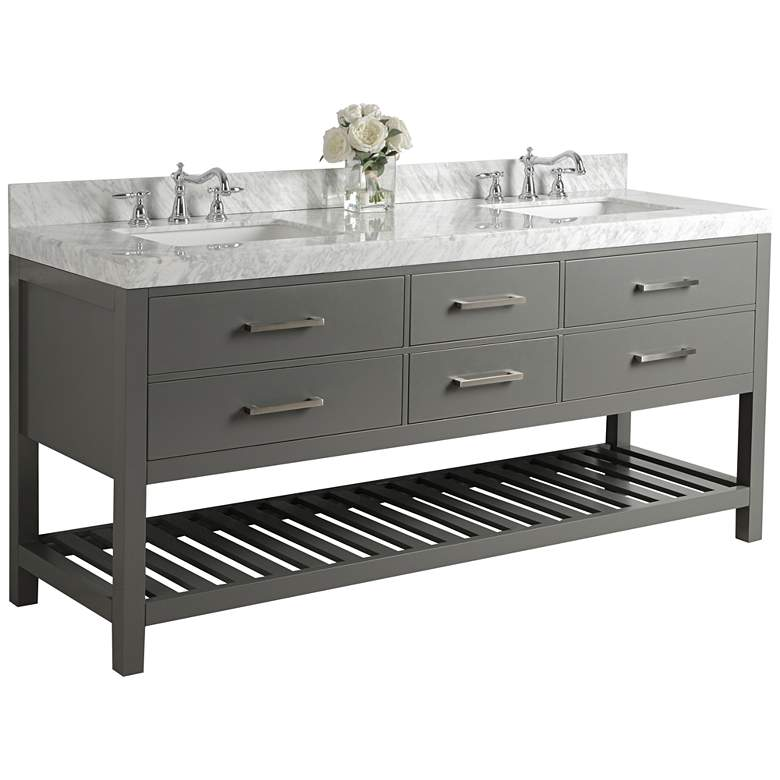 "Elizabeth Sapphire Gray 72"" Marble-Top Double Sink Vanity"