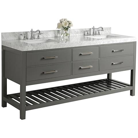 Elizabeth Sapphire Gray 72 Marble Top Double Sink Vanity 1m909