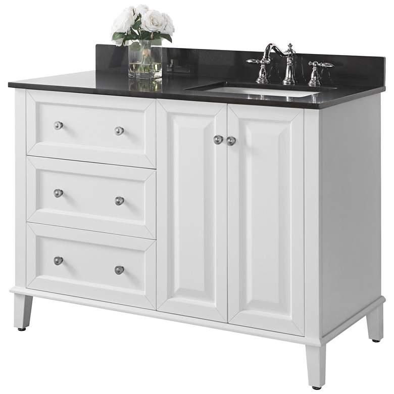 "Hannah 48"" White Granite-Top Off-Center Right Sink Vanity"