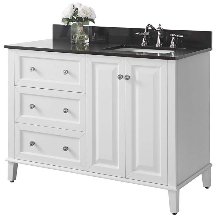 Hannah 48 White Granite Top Off Center Right Sink Vanity 1m912 Lamps Plus