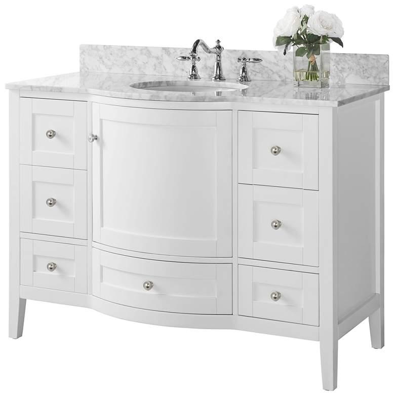 "Lauren 48"" Nickel White Italian Marble Single Sink"