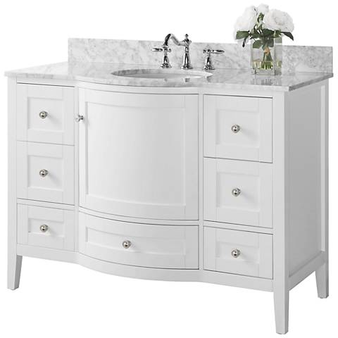 """Lauren White 48"""" Italian White Marble Single Sink Vanity"""