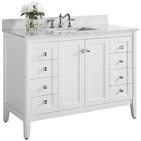 "Shelton White 48"" Italian White Marble Single Sink Vanity"