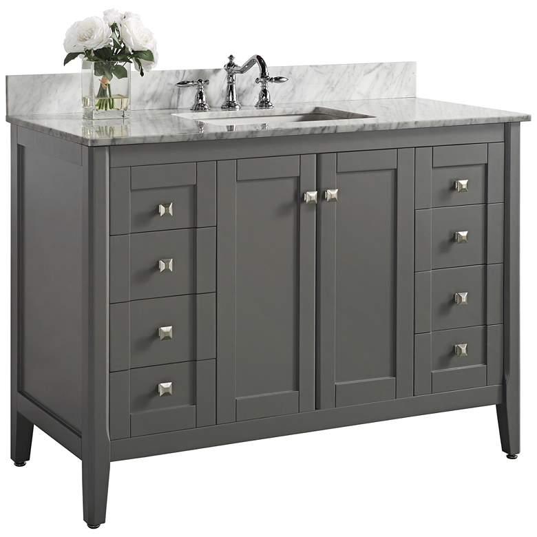 "Shelton Sapphire Gray 48"" White Marble Single Sink Vanity"