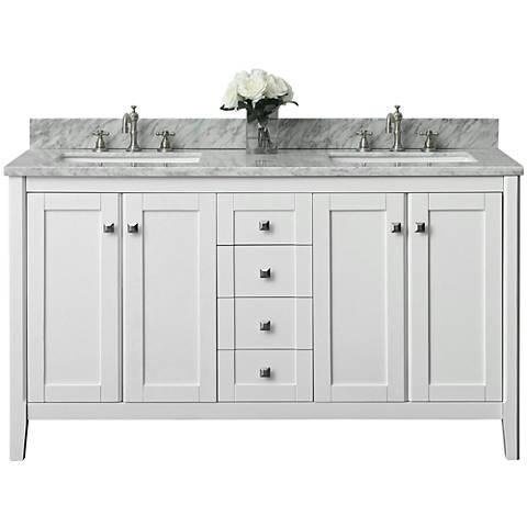 """Shelton White 60"""" Italian White Marble Double Sink Vanity"""
