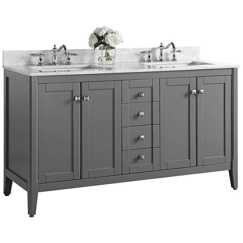 "Shelton Sapphire Gray 60"" White Marble Double Sink Vanity"