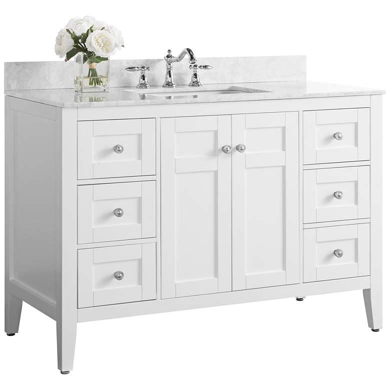 "Maili White 48"" Italian Marble Single Sink Vanity"
