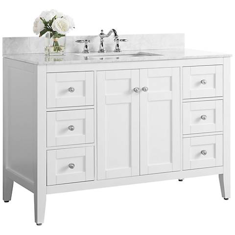 "Maili White 48"" Italian Marble Single Sink Vanity"
