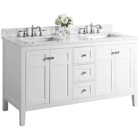 "Maili 60"" Nickel White Italian Marble Double Sink Vanity"