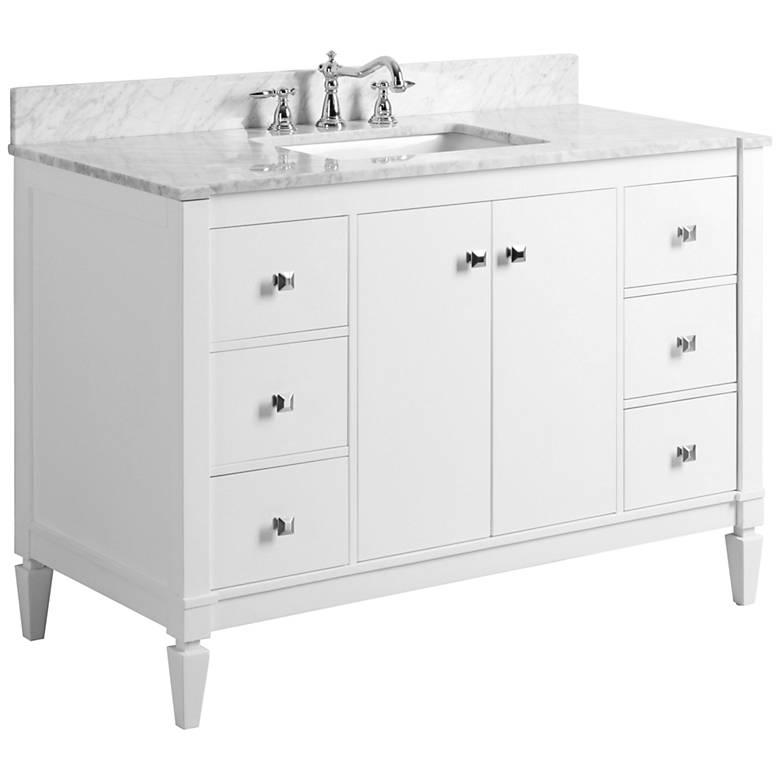"""Kayleigh White 48"""" Italian Marble-Top Single Sink Vanity"""