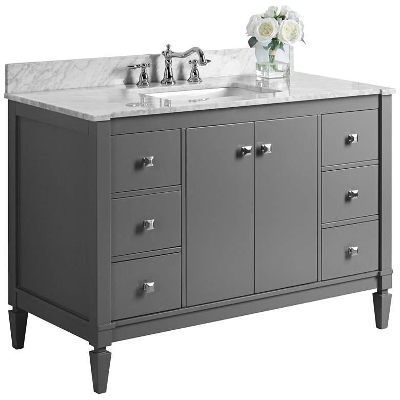 "Kayleigh Sapphire Gray 48"" Italian Marble-Top Sink Vanity"