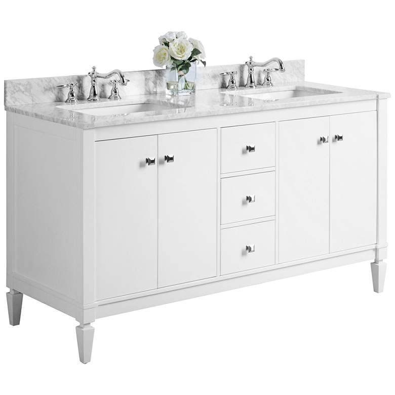 "Kayleigh White 60"" Italian Marble Double Sink Vanity"