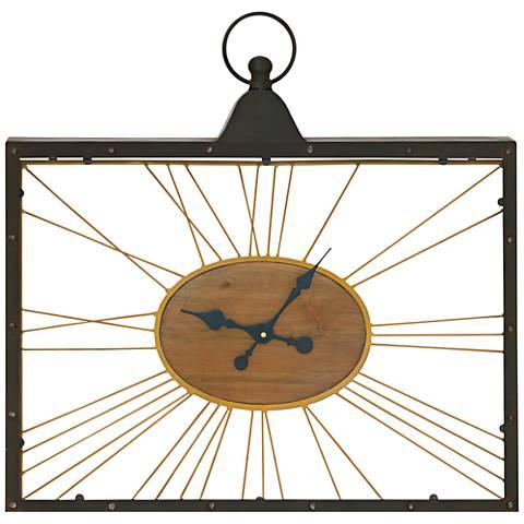 "Edison Wood and Metal 28"" Wide Rectangular Wall Clock"