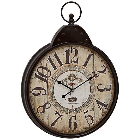 "Gulliver Black Metal 28"" High Round Wall Clock"