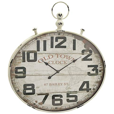"""Donovan Distressed White Wood and Metal 36"""" High Wall Clock"""