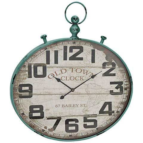 "Donovan Distressed Green Metal 36"" High Wall Clock"