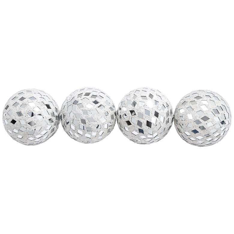 Mirror Mosaic White Glass Decorative Balls Set of 4