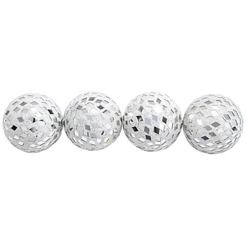 Black And Silver Decorative Balls New Mirror Mosaic White Glass Decorative Balls Set Of 4  #1N061 Decorating Design