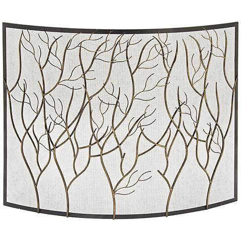 "Branches Iron Metal 33"" High Fire Screen"