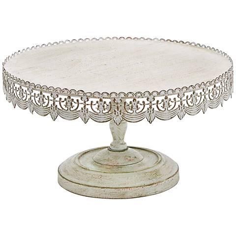"Victoria Antique Whitewash 16"" Round Iron Cake Stand"