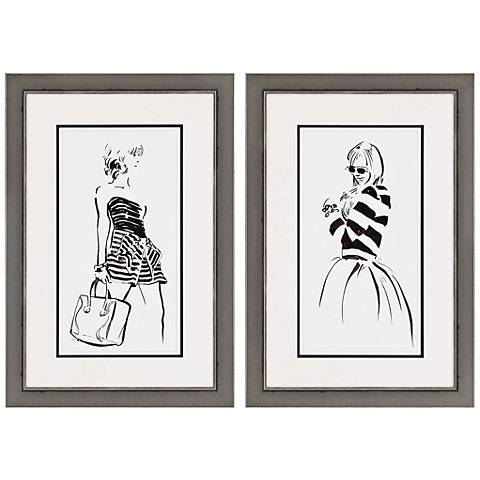"Striped Out Fashion 28"" High 2-Print Framed Wall Art Set"