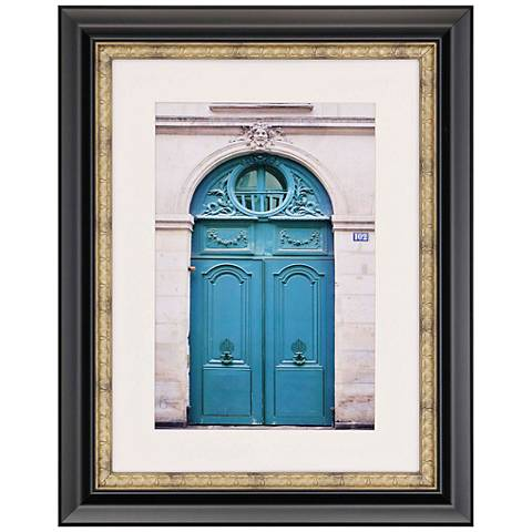 "Ornate City 34"" High Blue Door Photo Framed Wall Art"