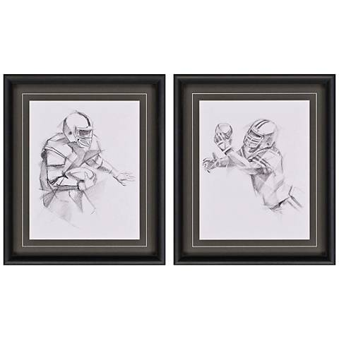 "Boys Football Action 27"" High 2-Print Framed Wall Art Set"