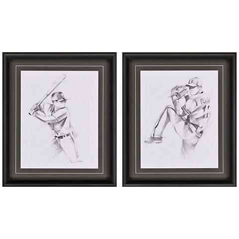 "Boys Baseball Action 27"" High 2-Print Framed Wall Art Set"