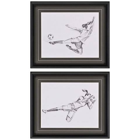 "Girls' Soccer Action 27"" Wide 2-Print Framed Wall Art Set"