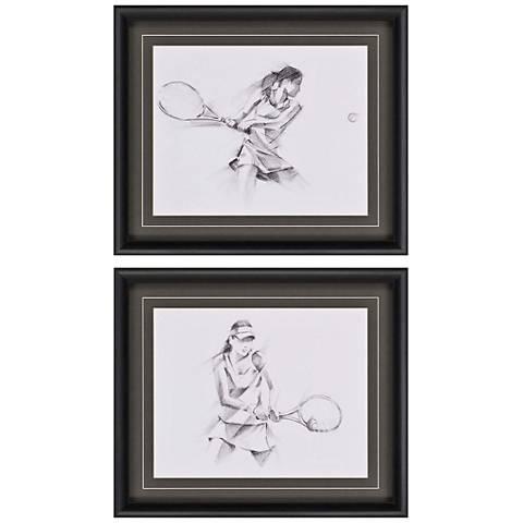 """Girls' Tennis Action 27"""" Wide 2-Print Framed Wall Art Set"""