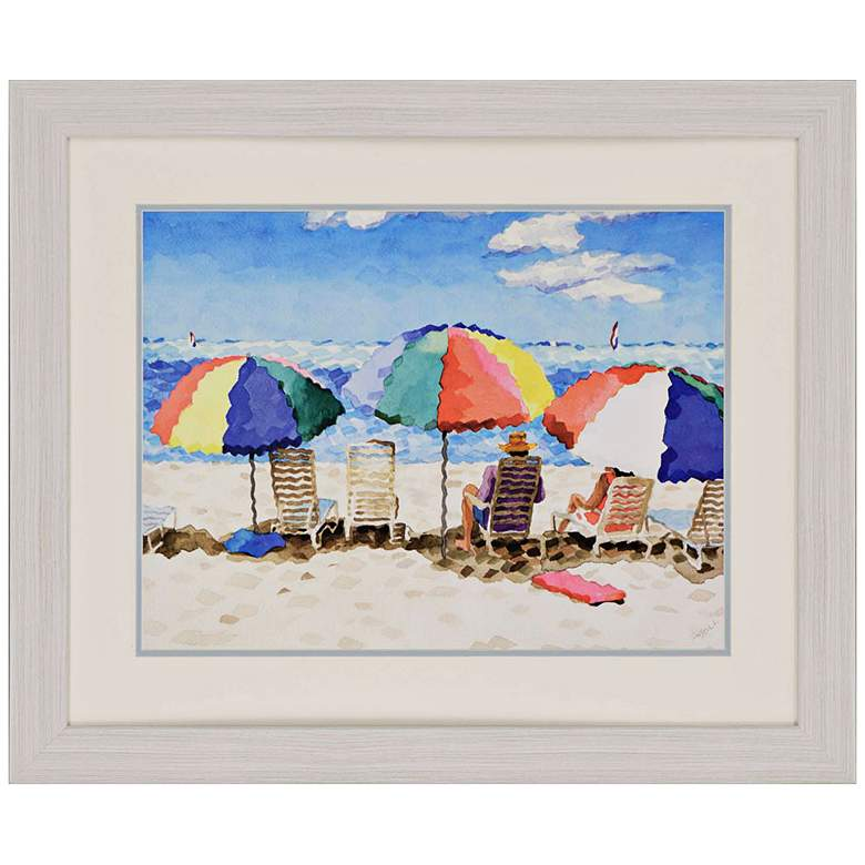 """Beach Chairs 34"""" Wide Framed Neo-Impressionist Wall Art"""