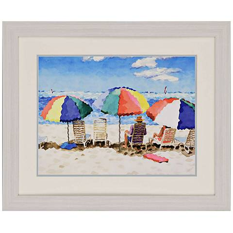 "Beach Chairs 34"" Wide Framed Neo-Impressionist Wall Art"