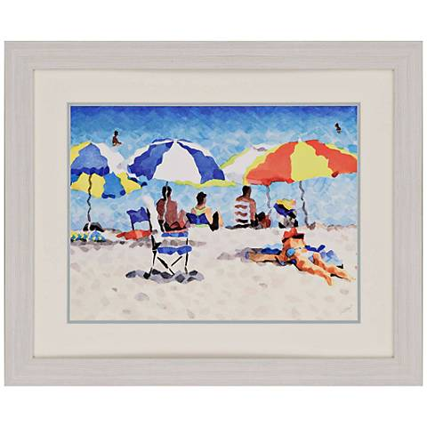 "Heat Wave 34"" Wide Framed Neo-Impressionist Wall Art"
