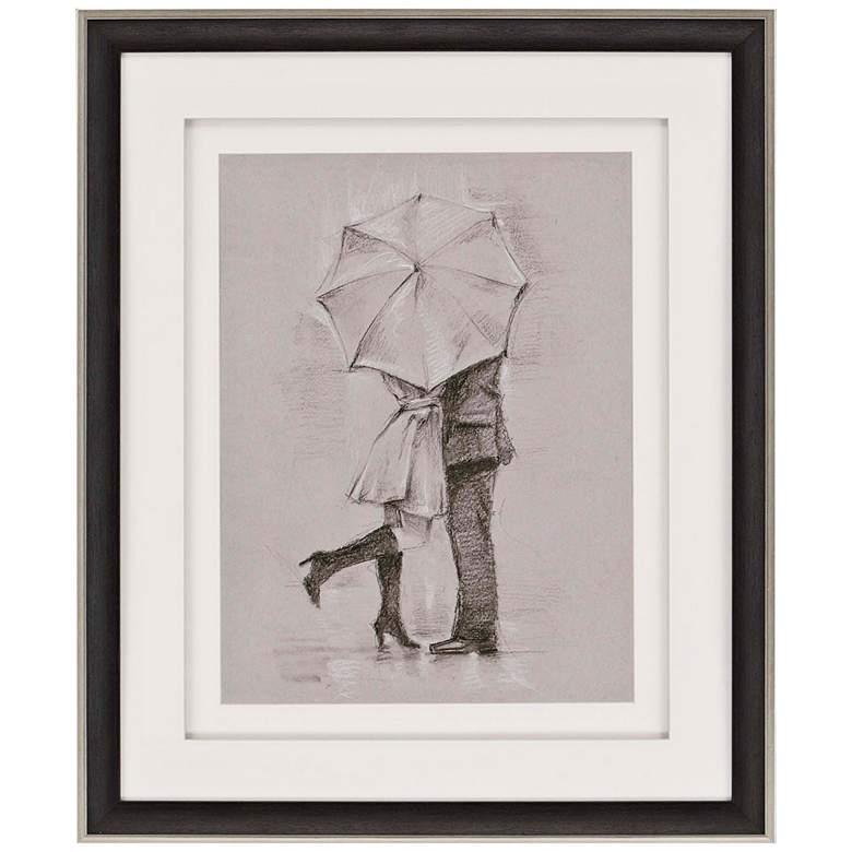 "Rainy Day Rendezvous III 36"" High Framed Retro Wall Art"