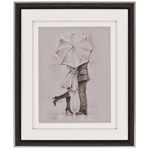 "Rainy Day Rendezvous III 36"" High Framed Retro Wall Art"