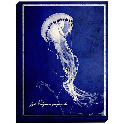 "Jellyfish 47"" High Framed Deep Blue Sea Mounted Wall Art"