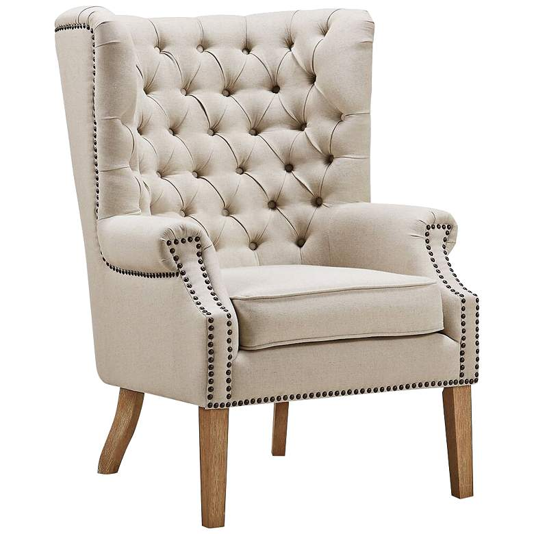 Abe Beige Linen Wing Armchair
