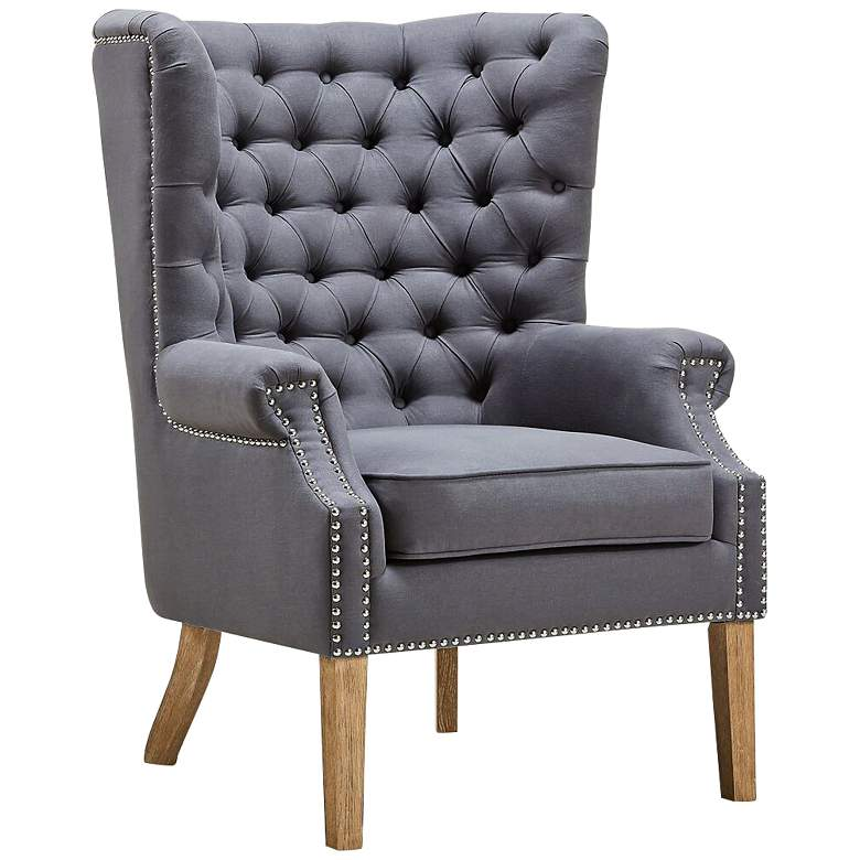 Abe Gray Linen Wing Armchair