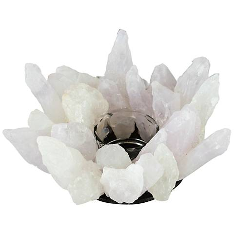 Bonita Large White Stone and Clear Glass Candle Holder