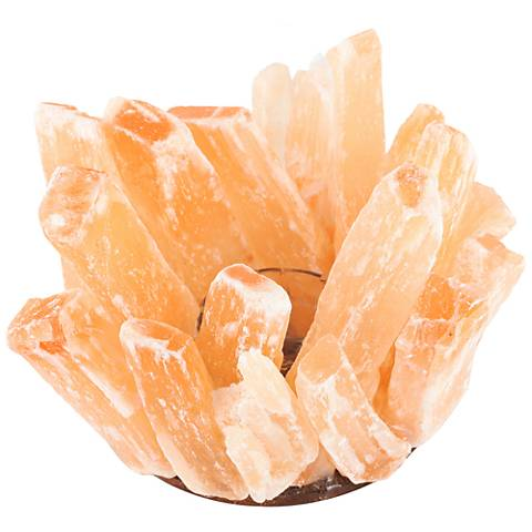 Bellane Orange Stone and Clear Glass Candle Holder