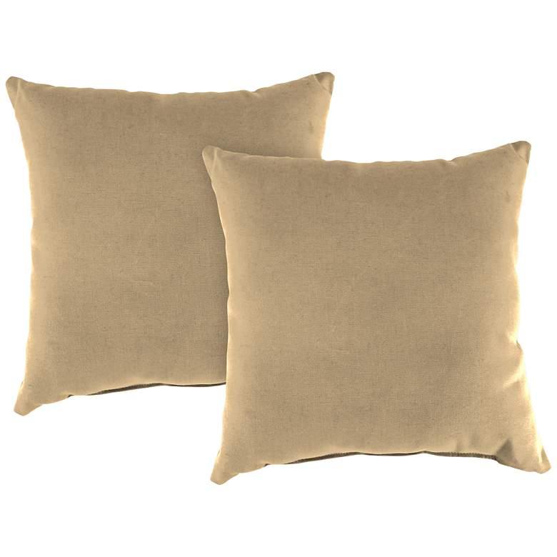 """Antique Beige 18"""" Square Indoor-Outdoor Pillow Set of 2"""