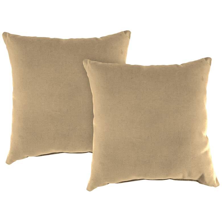 """Antique Beige 16"""" Square Indoor-Outdoor Pillow Set of"""