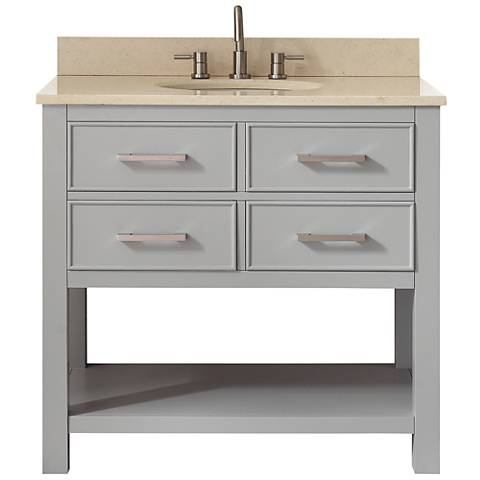 Avanity Brooks Beige Marble-Top Gray Single-Sink Vanity