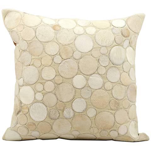 "Nourison Circle Natural Leather 20"" Square Beige Pillow"