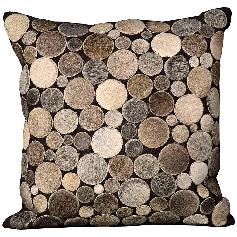"""Nourison Circle Natural Leather 20"""" Square Brown Pillow"""