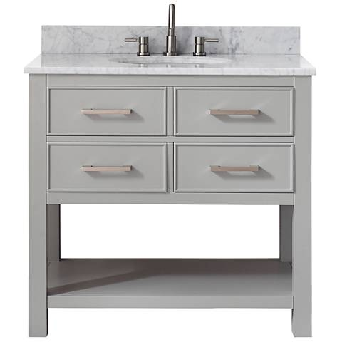 Avanity Brooks White Marble-Top Gray Single-Sink Vanity